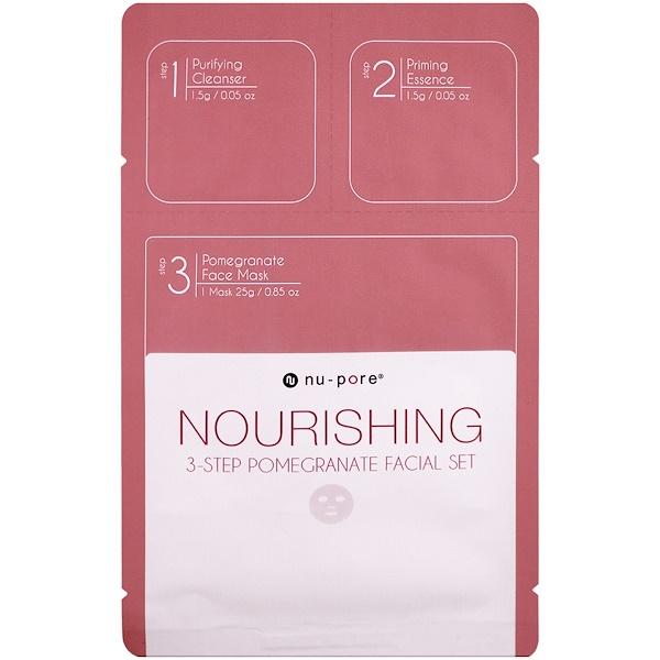 Nu-Pore, Набор для питающей 3-этапной маски для лица с гранатом, 1 упаковка (Discontinued Item)
