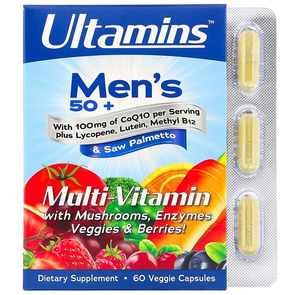Мультивитамины для мужчин старше 50лет, с коэнзимом Q10, грибами, ферментами, овощами и ягодами, 60растительных капсул