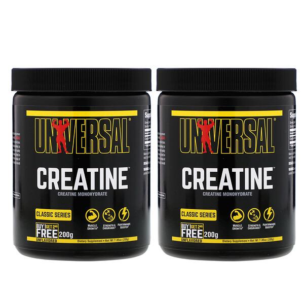 Universal Nutrition, Creatine, без вкуса, 2 флакона, 200 г каждый