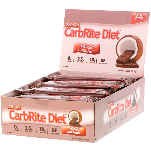 Doctor's CarbRite Diet Bars, Toasted Coconut, 12 Bars, 2.0 oz (56.7 g) Each