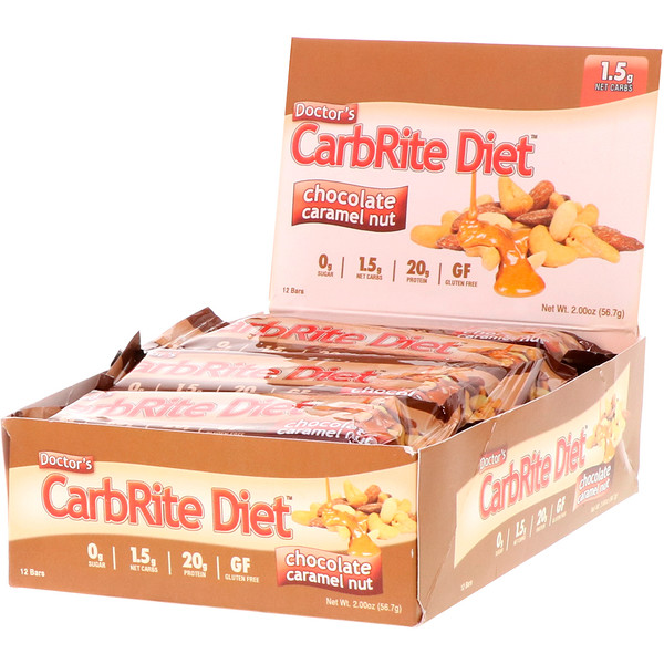 Doctor's CarbRite Diet Bars, Chocolate Caramel Nut, 12 Bars, 2.00 oz (56.7 g) Each