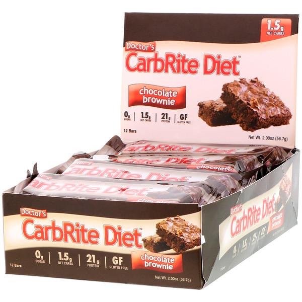 Universal Nutrition, Батончики Doctor's CarbRite Diet, шоколадный брауни, 12 батончиков по 56,7 г (2 унции)