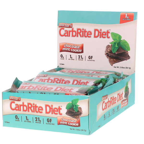 Doctor's CarbRite Diet Bars, Chocolate Mint Cookie, 12 Bars, 2.00 oz (56.7 g) Each