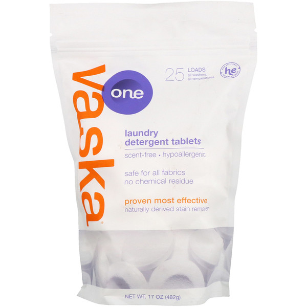 Vaska, One, Laundry Detergent Tablets, Scent Free, 25 Loads, 17 oz (482 g) (Discontinued Item)