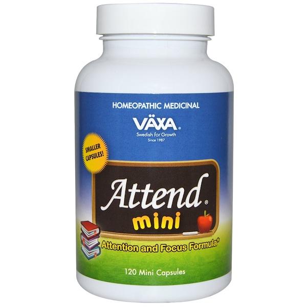 Vaxa International, Attend Mini, поддержка внимания, 120 мини капсул (Discontinued Item)