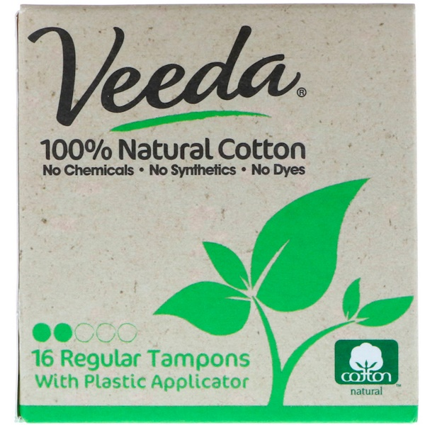 Veeda, 100% Natural Cotton Tampon with Plastic Applicator, Regular, 16 Tampons (Discontinued Item)