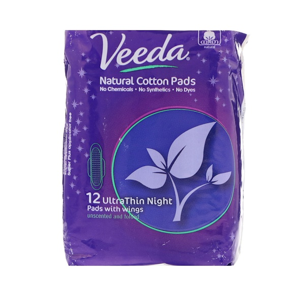 Veeda, Natural Cotton Pads with Wings, Ultra Thin, Night, 12 Pads (Discontinued Item)