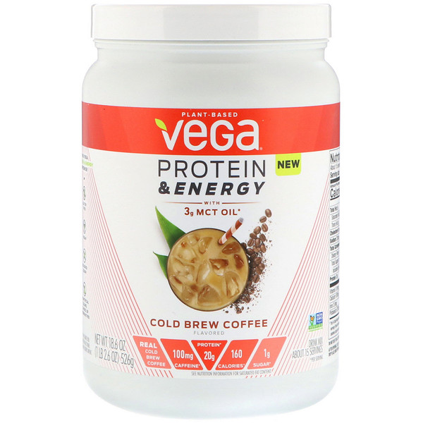 Vega, Protein & Energy, Cold Brew Coffee, 1.2 lbs (526 g) (Discontinued Item)