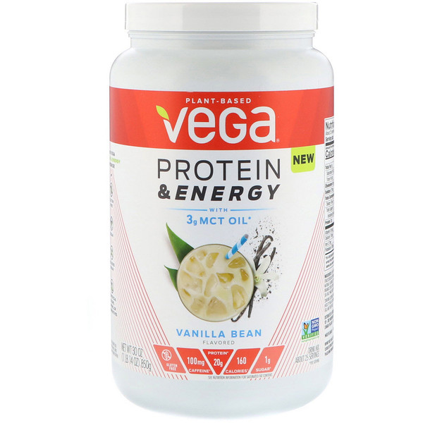 Vega, Protein & Energy, Vanilla Bean, 1.87 lbs (850 g) (Discontinued Item)