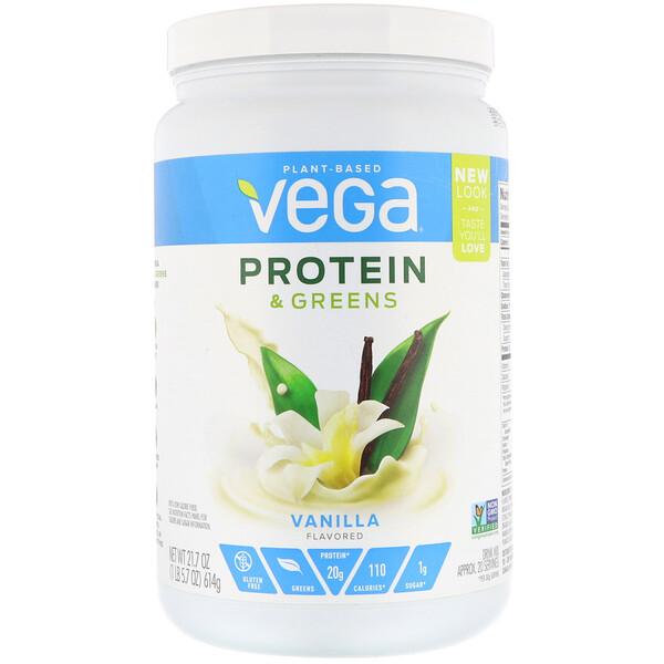 Vega, Белки и зелень, внильный аромат, 21,7 унц. (614 г) (Discontinued Item)
