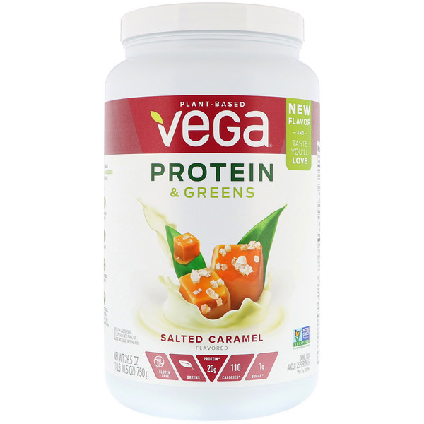 Vega, Protein & Greens, Salted Caramel, 1.65 lbs (750 g) (Discontinued Item)