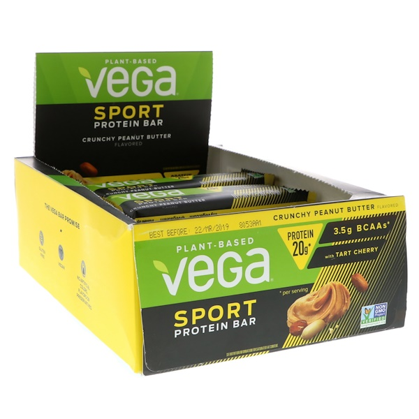 Vega, Sport Protein Bar, Crunchy Peanut Butter, 12 Bars, 2.5 oz (70 g) (Discontinued Item)