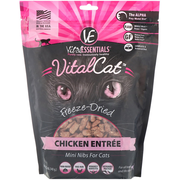 Vital Cat, Freeze-Dried Mini Nibs For Cats, Chicken Entree, 12 oz (340 g)
