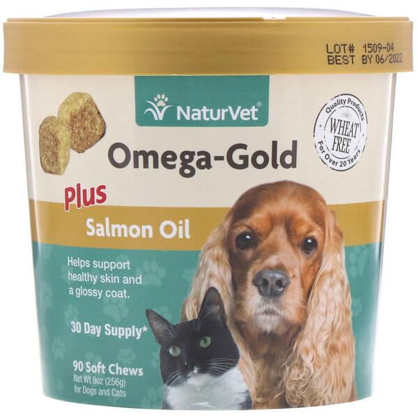 NaturVet, Omega-Gold с жиром лосося, добавка для собак и котов, 90мягких жевательных таблеток