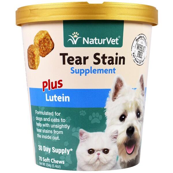 Для удаления слезных пятен у кошек и собак + лютеин, жевательные таблетки, 5.4 унции(154 г)