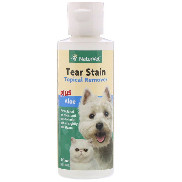 Tear Stain, средство для удаления пятен от слез с шерсти для животных с алоэ, для собак и котов, 4 жидк.унции (118мл)