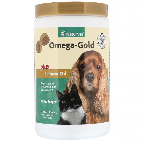 Omega-Gold с жиром лосося, добавка для собак и котов, улучшение состояния кожи и шерсти, 180мягких жевательных таблеток
