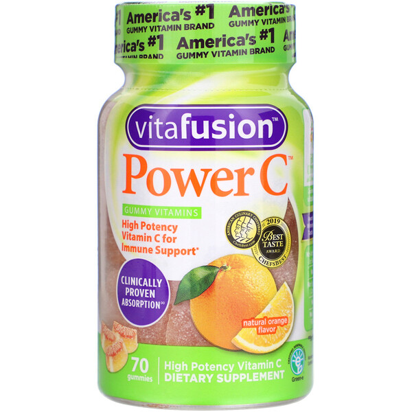 VitaFusion, Power C, High Potency Vitamin C, Natural Orange Flavor, 70 Gummies