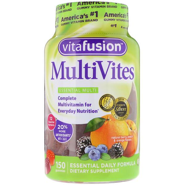 VitaFusion, MultiVites, незаменимые мультивитамины, натуральный ягодный, персиковый и апельсиновый вкусы, 150жевательных таблеток