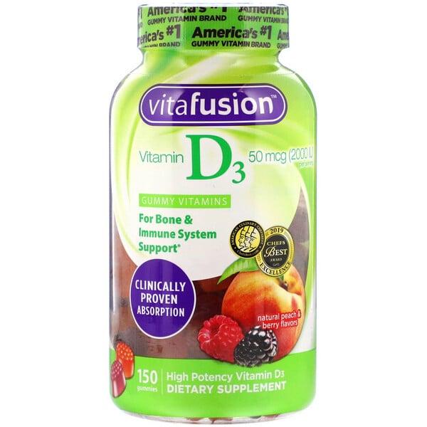 VitaFusion, ВитаминD3 с натуральным вкусом персика и ягод, 50мкг (2000МЕ), 150жевательных таблеток