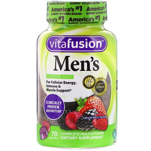 VitaFusion, Мультивитаминный комплекс для мужчин, вкус натуральных ягод, 70жевательных таблеток