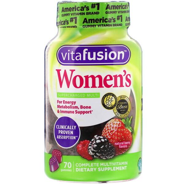 VitaFusion, Мультивитаминный комплекс для женщин, вкус натуральных ягод, 70жевательных таблеток