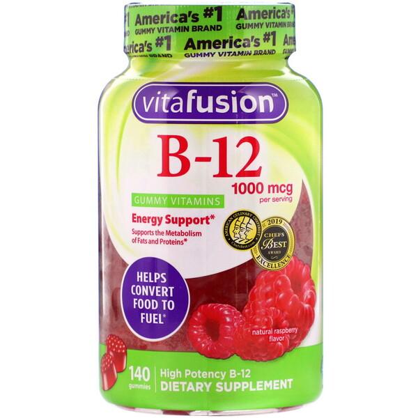 VitaFusion, B12, натуральный вкус малины, 1000мкг, 140жевательных таблеток