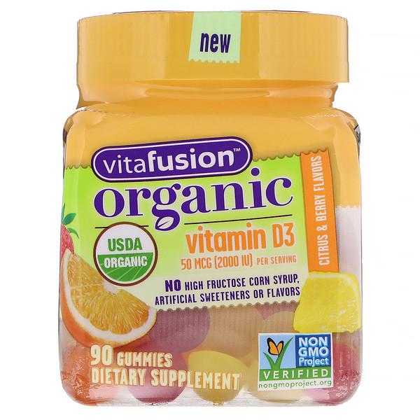 Organic Vitamin D3, Citrus & Berry, 50 mcg (2000 IU), 90 Gummies