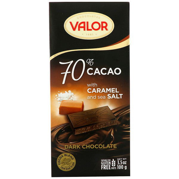 Valor, Dark Chocolate, 70% Cacao, With Caramel and Sea Salt, 3.5 oz (100 g) (Discontinued Item)