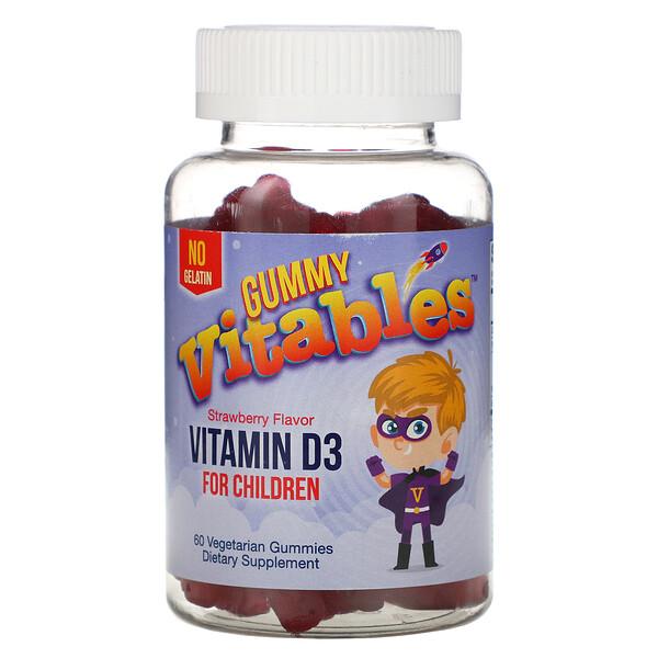 Vitables, Жевательный витаминD3 для детей, вкус клубники, 60вегетарианских жевательных конфет