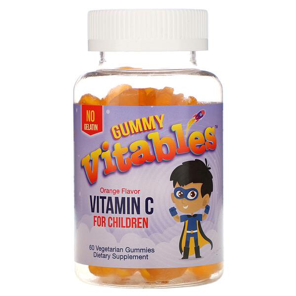 Vitables, Жевательный витаминC для детей, со вкусом апельсина, 60вегетарианских жевательных конфет