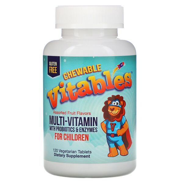 Жевательные мультивитамины с пробиотиками и ферментами для детей, ассорти фруктовых вкусов, 120таблеток растительного происхождения