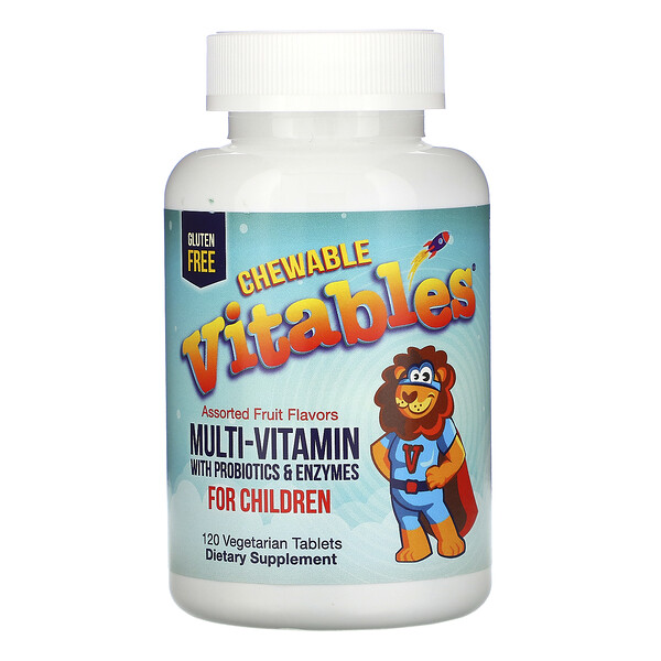 Vitables, жевательные мультивитамины с пробиотиками и ферментами, для детей, ассорти фруктовых вкусов, 120вегетарианских таблеток
