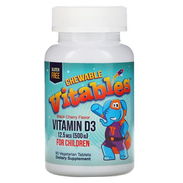Детская жевательная добавка с витамином D3, ароматизатор черешня, 12,5 мкг (500 МЕ), 90 вегетарианских таблеток