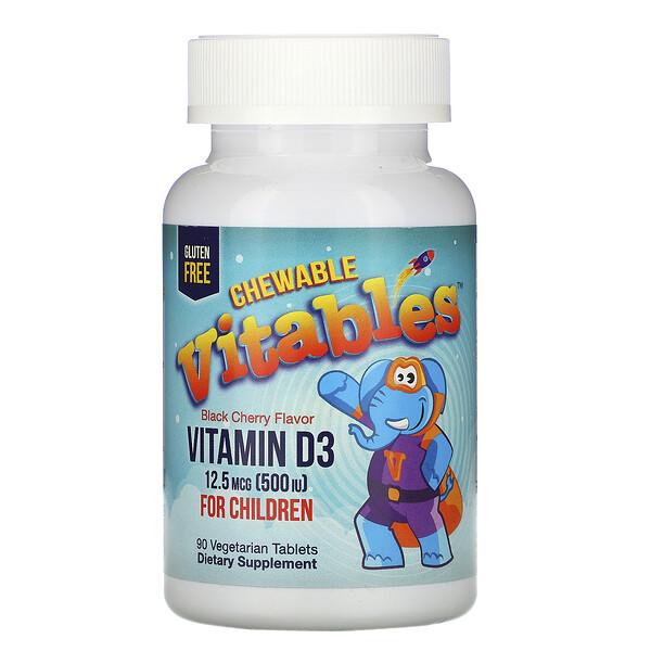 Vitables, жевательный витаминD3 для детей, со вкусом черешни, 12,5мкг (500МЕ), 90вегетарианских таблеток