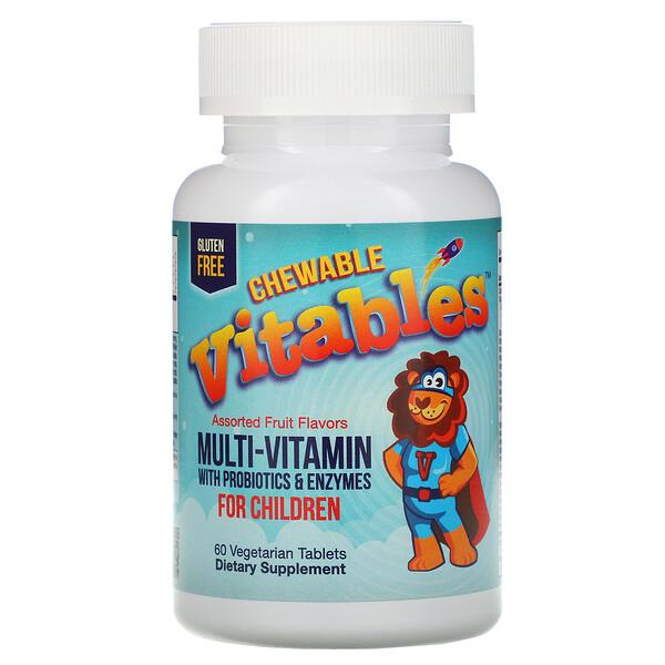 Vitables, Жевательные мультивитамины с пробиотиками и ферментами для детей, фруктовое ассорти, 60вегетарианских таблеток