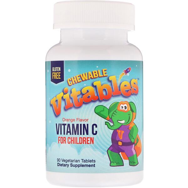 Vitables, Жевательный витамин C для детей, ароматизатор со вкусом апельсина, 90вегетарианских таблеток