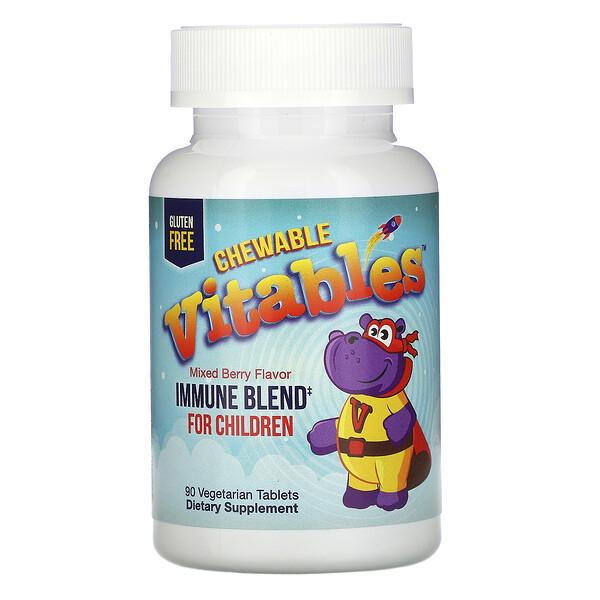 Vitables, детская жевательная добавка для укрепления иммунитета, со вкусом ягод 90вегетарианских таблеток