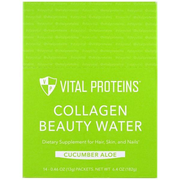 Vital Proteins, Collagen Beauty Water, огурец и алоэ, 14пакетиков, 13г (0,46унции) (Discontinued Item)