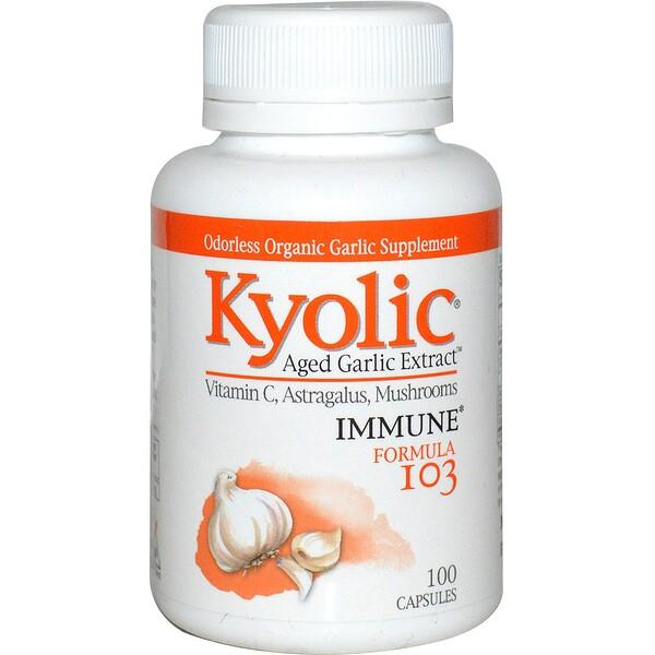 Экстракт выдержанного чеснока, формула 103 для поддержки иммунитета, 100 капсул