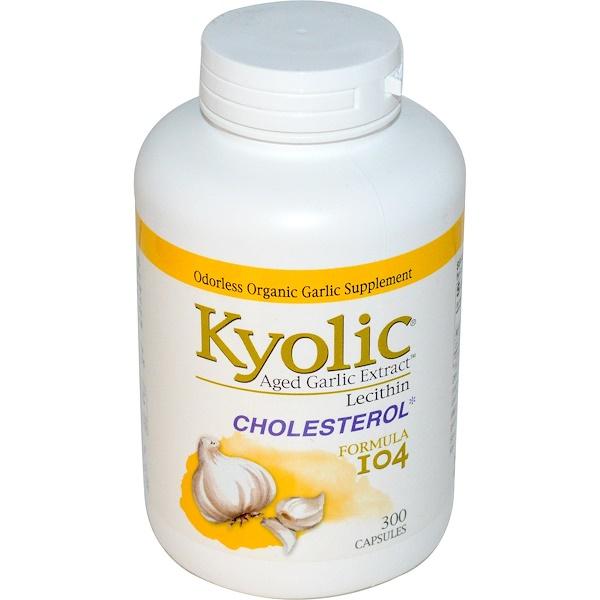 Kyolic, Экстракт выдержанного чеснока с лецитином, формула для снижения холестерина 104, 300 капсул