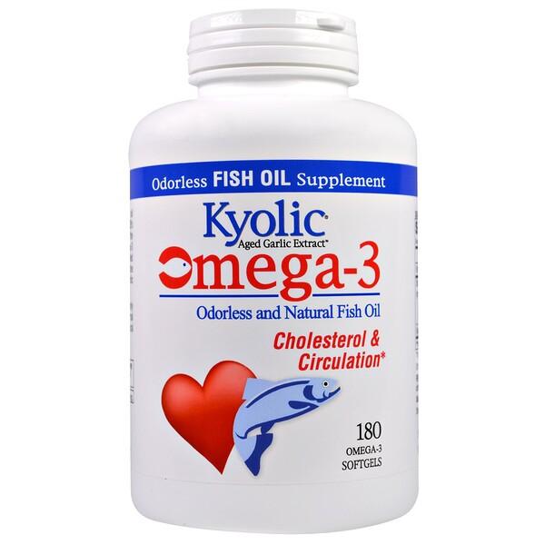 Kyolic, омега-3 жирные кислоты, натуральный рыбий жир без запаха, 180 мягких таблеток с омега-3 жирными кислотами