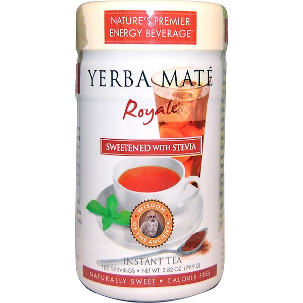 Wisdom Natural, Yerba Mate Royale, подслащенный стевией, чай мгновенного приготовления, 2.82 унции (79,9 г)