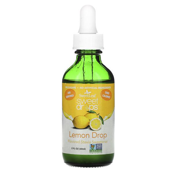 Wisdom Natural, SweetLeaf, Жидкая стевия, Лимонные капли, 2 жидких унции (60 мл)