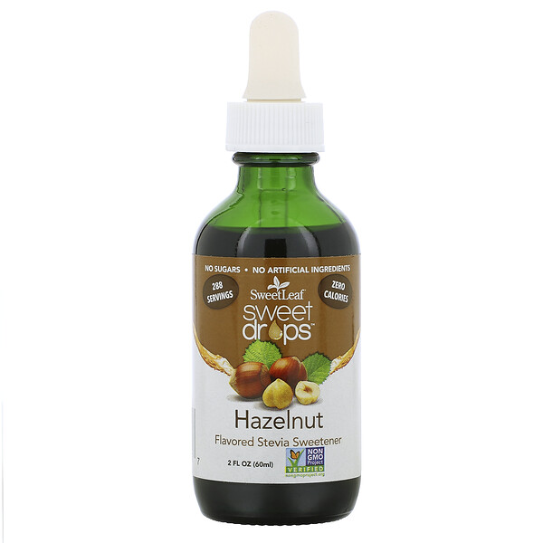 Wisdom Natural, SweetLeaf, Sweet Drops Stevia Sweetener, Hazelnut, 2 fl oz (60 ml)