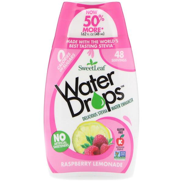 SweetLeaf, Water Drops, вкусовая добавка со стевией, «Малиновый лимонад», 48мл (1,62жидк.унции)