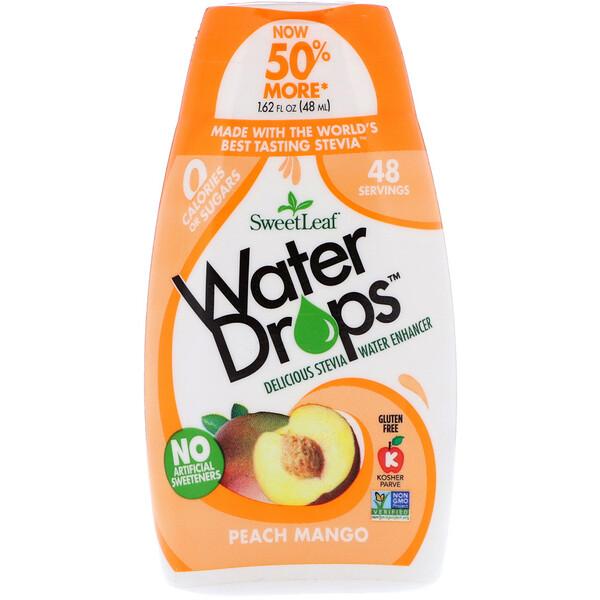 SweetLeaf, Водные капли, Восхитительный усилитель на водной основе со стевией, Персик и манго, 1,62 ж. унц.(48 мл)