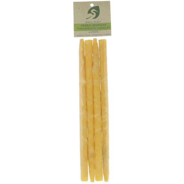Herbal Beeswax Therapeutic Candles, 4 Pack