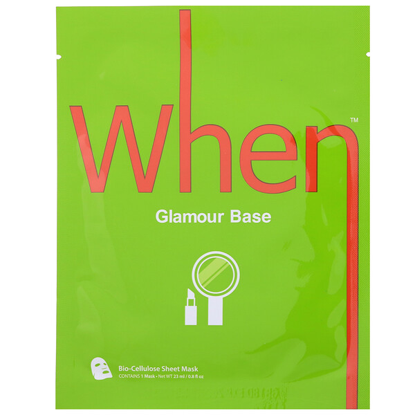 When Beauty, Glamour Base, Bio-Cellulose Sheet Mask, 1 Sheet, 0.8 fl oz (23 ml) (Discontinued Item)