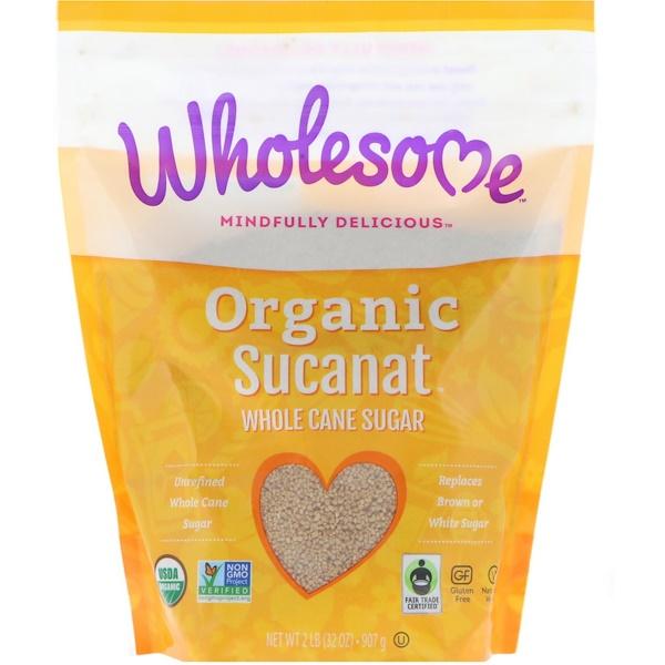 Органический Sucanat, цельный тростниковый сахар, 907 г (2 фунта)